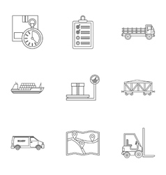 Warehouse icons set outline style vector image vector image