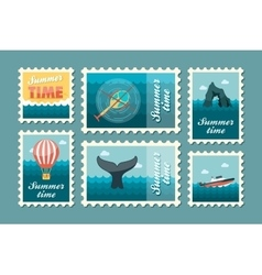 Excursion sea stamp set summer vacation vector