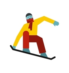 Snowboarder on the snowboard deck icon flat style vector