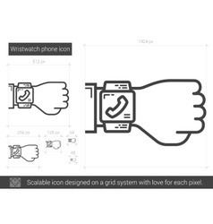 Wristwatch phone line icon vector