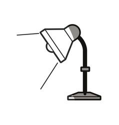Desk lamp light bulb elecrtic line shadow vector