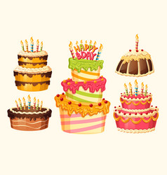 Collection of cartoon birthday cakes with vector