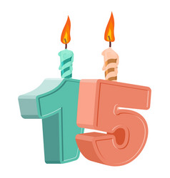 15 years birthday number with festive candle for vector