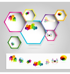 Web windows with colorful icons vector