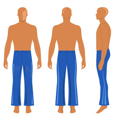 Full length man silhouette figure in flare pants vector