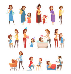 motherhood retro cartoon icons set vector image