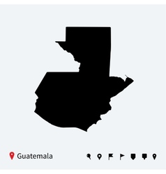 High detailed map of Guatemala with navigation vector image