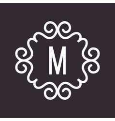 White vintage twirl frame for m letter vector