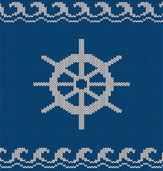 Knitted seamless pattern with sea wheel vector