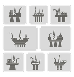 Monochrome icons with oil platform vector