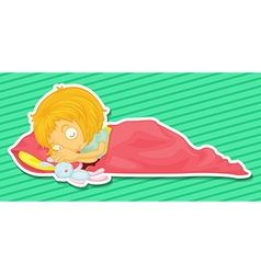 Little kid sleepin with a rabbit doll vector image