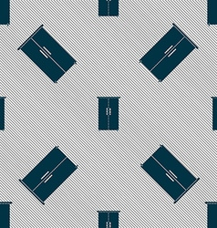 Cupboard icon sign seamless pattern with geometric vector