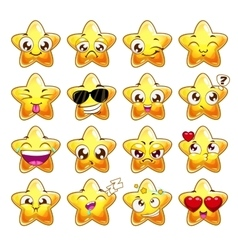 Funny cartoon star character emotions set vector