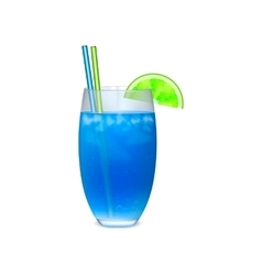 Blue cocktail with with slice of lime vector