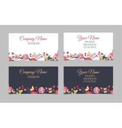Set of two double-sided floral business cards vector