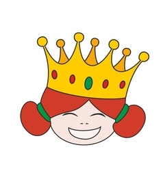 Happy little princess head in crown vector