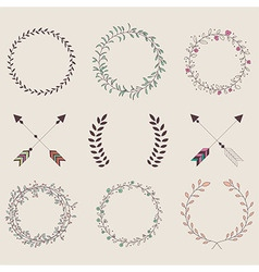 Hand drawn vintage arrows feathers dividers vector