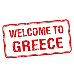 Welcome to greece red grunge square stamp vector