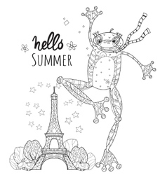 Cute Frog Boy in Paris vector image