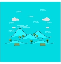 Beautiful mountain landscape outline vector