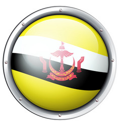 Brunei flag design on round badge vector