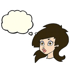 Cartoon pretty surprised woman with thought bubble vector