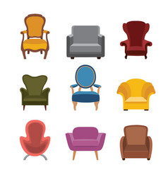 chairs and armchairs icons set furniture vector image vector image