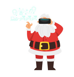 claus wearing virtual reality glasses vector image