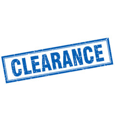 Clearance blue square grunge stamp on white vector