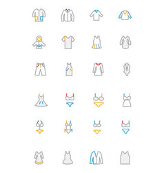 Clothes Colored Outline Icons 1 vector image