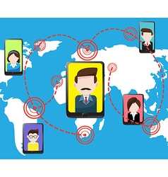 Communications smartphone tablet and people vector