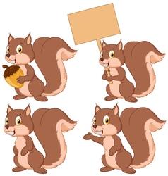 Cute carton squirrel collection set vector