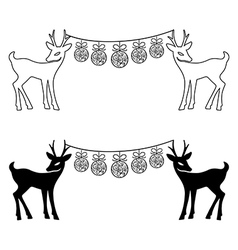 Deers christmas balls set silhouettes vector