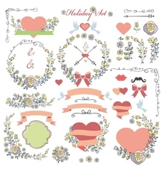 Doodle holiday set with flowersswirling decor vector