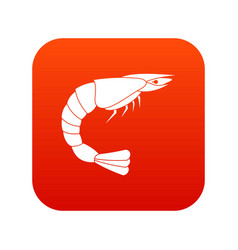 fresh sea shrimp icon digital red vector image