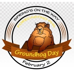Groundhog Day Round label vector image