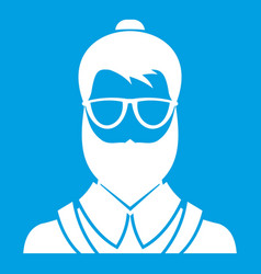 hipsster man icon white vector image