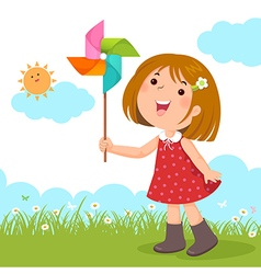 Little girl playing with a colorful windmill toy vector