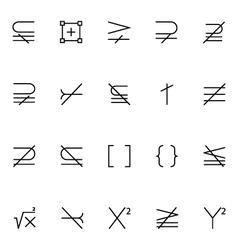 Mathematics icons 6 vector