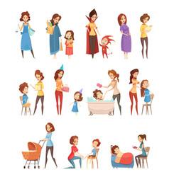Motherhood retro cartoon icons set vector
