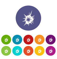 Nuclear explosion icons set flat vector