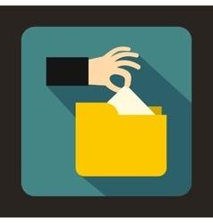 Robbery secret data in yellow folder icon vector