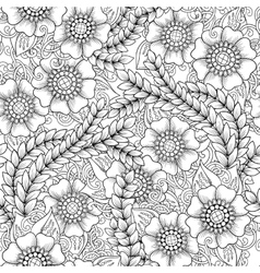 Seamless floral doodle black and white background vector