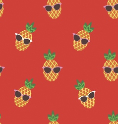 Seamless print with cute pineapple character vector