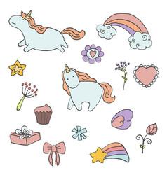 Set of unicorn vector