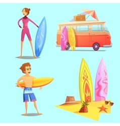 Surfing retro cartoon 2x2 icons set vector