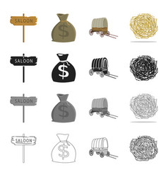 Wild west history and other web icon in cartoon vector
