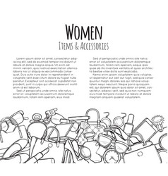 women items and accessories web banner colourless vector image vector image
