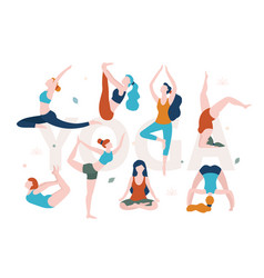 yoga for women with any shape slim and overweight vector image