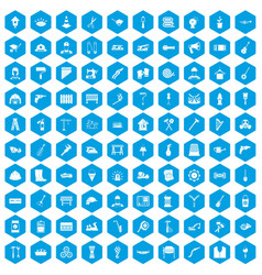 100 tools icons set blue vector